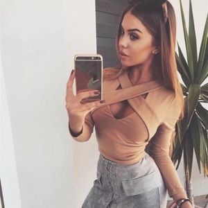 Cross Front Cropped Stretch Knit Long Sleeve Top